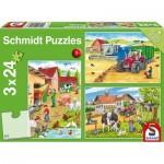 Schmidt-Spiele-56216 3 Puzzles - A La Ferme