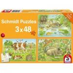 Schmidt-Spiele-56222 3 Puzzles - Animaux de la Ferme