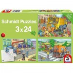 Puzzle  Schmidt-Spiele-56357 Camion à ordures, Dépanneuse et Balayeuse (3x24 Pièces)
