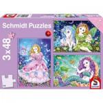 Puzzle  Schmidt-Spiele-56376 Princesse, Fée, et Sirène (3x48 Pièces)