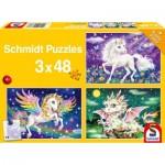 Puzzle  Schmidt-Spiele-56377 Les Animaux Fabuleux (3x48 Pièces)