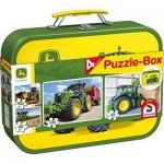 Schmidt-Spiele-56497 John Deere, Tracteur, 4 Puzzles pour Enfants dans une Boîte en Métal, 2x60 et 2x100 Pièces