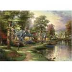 Puzzle  Schmidt-Spiele-57452 Thomas Kinkade: Au Bord du Lac