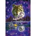 Puzzle  Schmidt-Spiele-58233 Loup au Clair de Lune