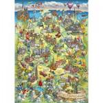 Puzzle  Schmidt-Spiele-58330 Carte Illustrée de l'Allemagne