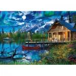 Puzzle  Schmidt-Spiele-58365 Lac de Montagne au Clair de Lune