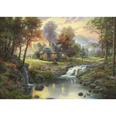 Puzzle Schmidt-Spiele-58445 Thomas Kinkade : Chalet sur le ruisseau