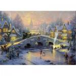Puzzle  Schmidt-Spiele-58450 Thomas Kinkade : Village en hiver