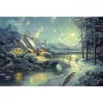 Puzzle  Schmidt-Spiele-58453 Thomas Kinkade : Clair de lune hivernal