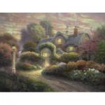 Puzzle  Schmidt-Spiele-59466 Kinkade Thomas : Cottage dans le Jardin de Roses
