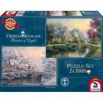Schmidt-Spiele-59468 2 Puzzles - Thomas Kinkade: Cottage en Hiver et en Eté