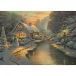 Puzzle  Schmidt-Spiele-59492 Thomas Kinkade - La Veille de Noël