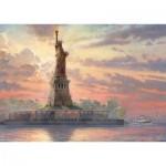 Puzzle  Schmidt-Spiele-59498 Thomas Kinkade - Statue de la Liberté au Crépuscule
