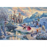 Puzzle  Schmidt-Spiele-59671 Thomas Kinkade Disney - Beauty and the Beast, Magical Winter Evening