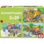 Puzzle   Camion à ordures, Dépanneuse et Balayeuse (3x24 Pièces)