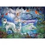 Puzzle   Loups dans la Forêt d'Hiver