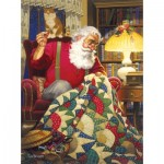 Puzzle  Sunsout-23328 Tom Newsom - Quilting Santa