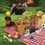 Puzzle  Sunsout-30476 William Vanderdasson - Puppies take over