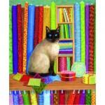 Puzzle  Sunsout-31616 Linda Elliott - Quilt Shop Cat