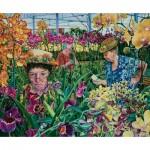 Puzzle  Sunsout-44272 Susan Brabeau - Orchids with Mantis