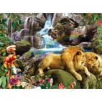 Puzzle  Sunsout-48466 Alixandra Mullins - Love Lion Waterfall