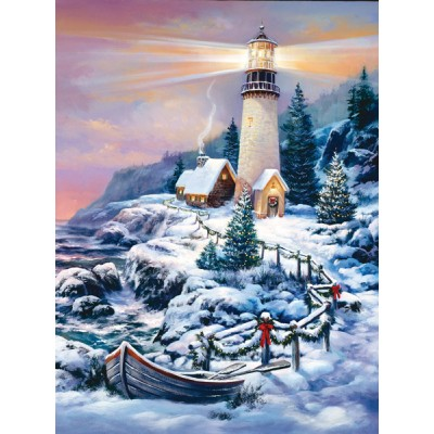 Puzzle Sunsout-49152 Sandra Bergeron - Christmas Lighthouse