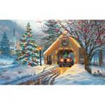 Puzzle  Sunsout-53015 Pièces XXL - Covered Bridge at Christmas