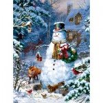 Puzzle  Sunsout-59796 Liz Goodrick Dillon - Winter Cabin Snowman