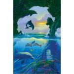 Puzzle  Sunsout-75542 Jim Warren - 7 dolphins