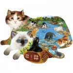 Puzzle  Sunsout-97220 Ashley Davis - Fishing Kittens