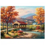 Puzzle   Sung Kim - Fall at the Covered Bridge