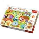 Trefl-14271 Flip Flap Puzzle - Ferme