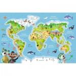 Puzzle  Trefl-15552 Carte du Monde (en Polonais)