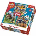 Puzzle   3 in 1 - Fireman Sam in action