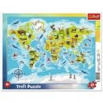 Trefl-31340 Puzzle Cadre - Carte du Monde Des animaux