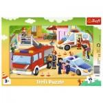 Trefl-31355 Puzzle Cadre - Véhicules d'Urgence