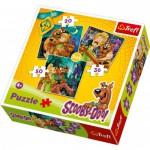 Trefl-34145 3 Puzzles en 1 : Samy et Scooby-Doo