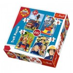 Trefl-34269 4 Puzzles - Fireman Sam