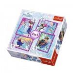 Trefl-34294 4 Puzzles - La Reine des Neiges
