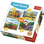 Trefl-34298 4 Puzzles - Véhicules