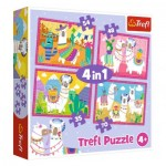 Trefl-34322 4 Puzzles - Llamas on Vacation