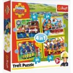 Puzzle  Trefl-34373 4 in 1 - Helpful Fireman Sam