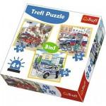 Trefl-34836 3 Puzzles - Véhicules de Secours