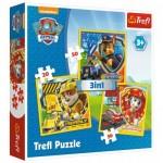 Trefl-34839 3 Puzzles - Pat'Patrouille