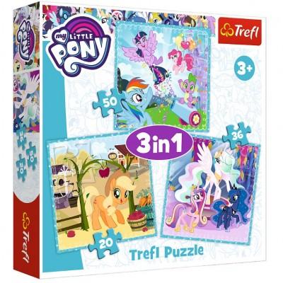 Trefl-34843 3 Puzzles - Mon Petit Poney