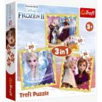Trefl-34847 3 Puzzles - La Reine des Neiges 2