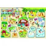 Trefl-90756 Puzzle Géant de Sol - Zoo