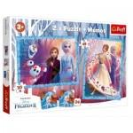 Trefl-90814 2 Puzzles + Memo - La Reine des Neiges