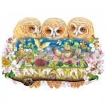 Puzzle en Bois - Owlets in The Moonlight