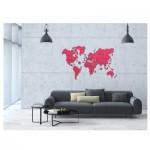 Puzzle en Bois - Carte du Monde XL (Rouge corail)
